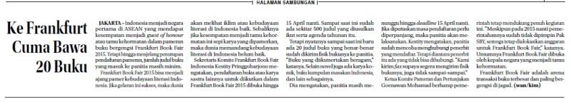 Cuplikan berita disadur dari Harian Jawa Pos 29 Maret 2014